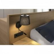 BERNI Lampe applique noire avec lecteur LED