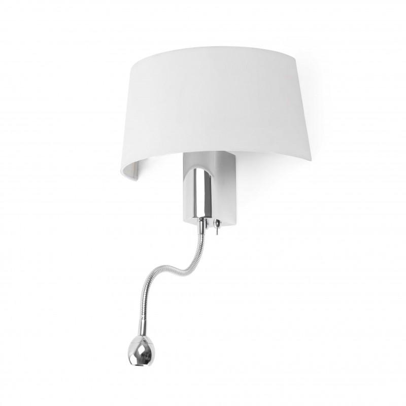HOTEL Lampe applique blanche 1L avec liseuse LED