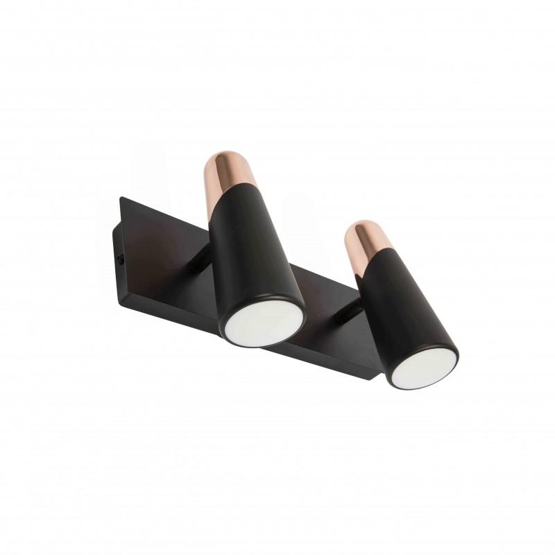 LAO LED Lampe applique noir et cuivre 2L