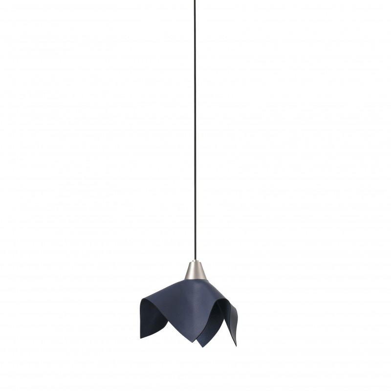 FAUNA LED Lampe suspension cuir bleu