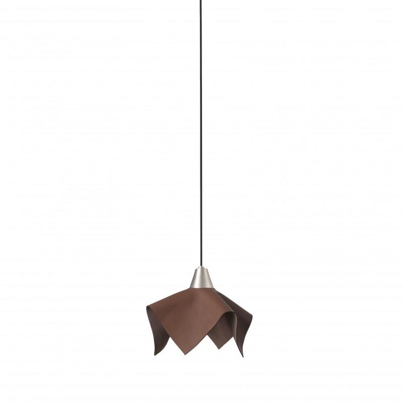 FAUNA LED Lampe suspension cuir marron