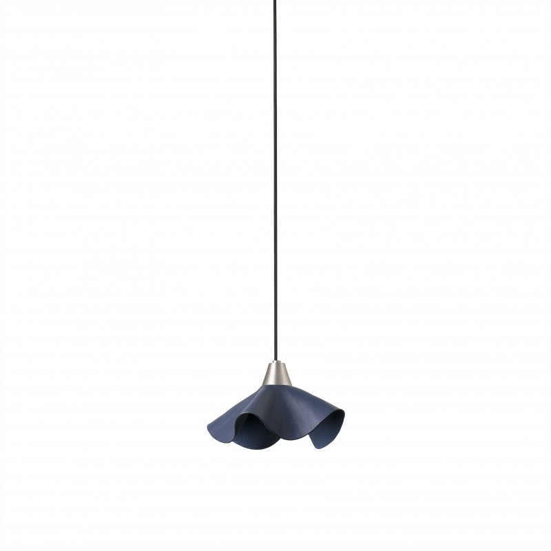 HELGA LED Lampe suspension cuir bleu