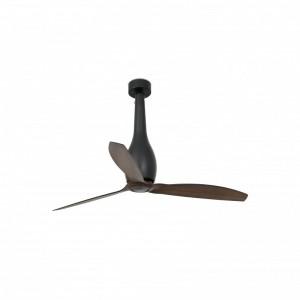 ETERFAN Ventilateur de plafond noir mat/bois avec moteur DC