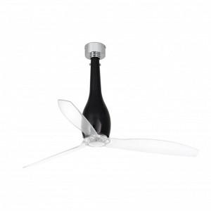 ETERFAN Ventilateur de plafond noir brillant/transparent avec moteur DC