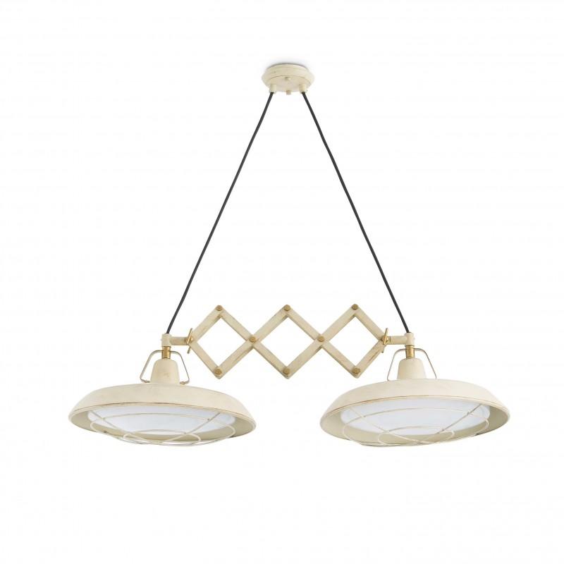 PLEC LED Lampe suspension extensible blanc cassé 2L