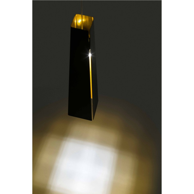 PLUMA LED Lampe suspension noir et or