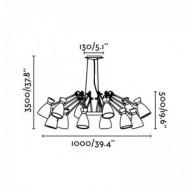 RETRO Lampe suspension cuivre 12L