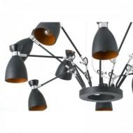 RETRO Lampe suspension noire et cuivre 12L