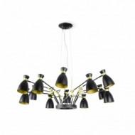 RETRO Lampe suspension noire et or satiné 12L