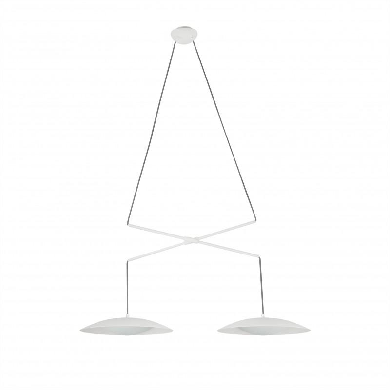 SLIM LED Lampe suspension double extensible blanche
