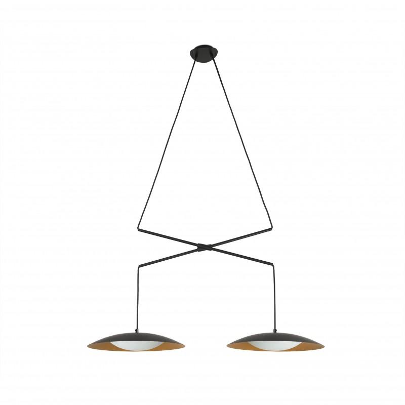 SLIM LED Lampe suspension double extensible noir et or