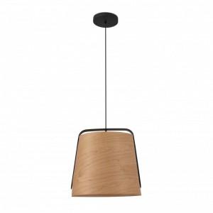 STOOD Lampe suspension noire et bois